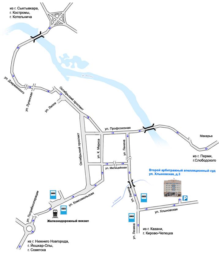 Схема проезда к зданию суда